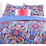 3pc Girls Pink Purple Blue Pink Red Intricate Floral Quilt Full Queen Set, Vibrant Bright Scroll Rose Daisy Paisley Flower Themed Pattern, Geometric Flowers Bohemian Bedding