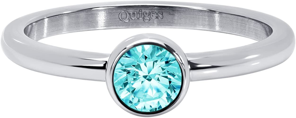 Quiges Stainless Steel Silver with Round Blue Zirconia Inner Ring 2mm Height for Stackable Ring Collection