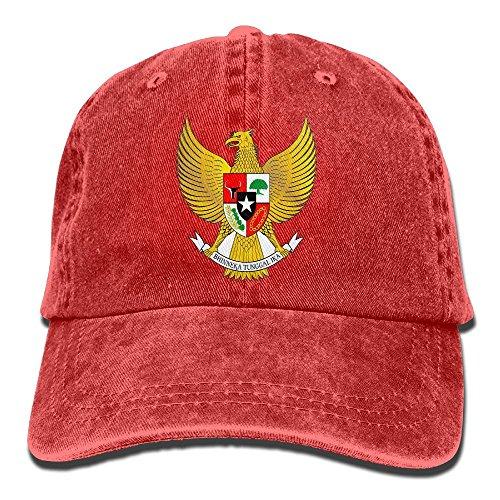 Indonesia Coat Of Arms - Bhnrtgyhert Classic Unisex Coat of Arms of Indonesia Classic Cotton Hat Adjustable Plain Cap Red