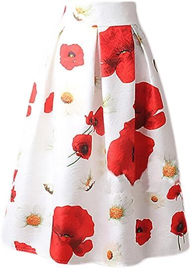 Mujer Falda Plisada Años 50 A-Line Vintage Swing Elegantes Falda ...