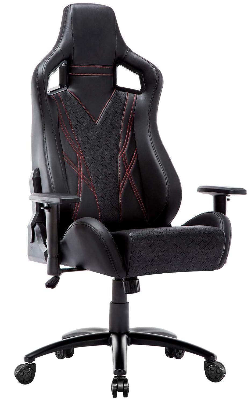 Amoiu Silla Gaming Profesional Racing Silla de Escritorio Giratoria de 360°con Respaldo Alto y Inclinación y Altura Regulable, PU Negro (Negro 1): ...