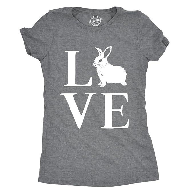 4775d830c6e Womens Love Bunny Tshirt Cute Adorable Easter Sunday Rabbit Tee for Ladies  (Dark Heather Grey