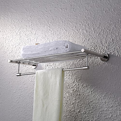 KES Bath Towel Rack with Towel Bar 24-Inch SUS 304 Stainless Steel Bathroom Storage Organizer Shelf RUSTPROOF Wall Mount Polished Finish, A2115S60