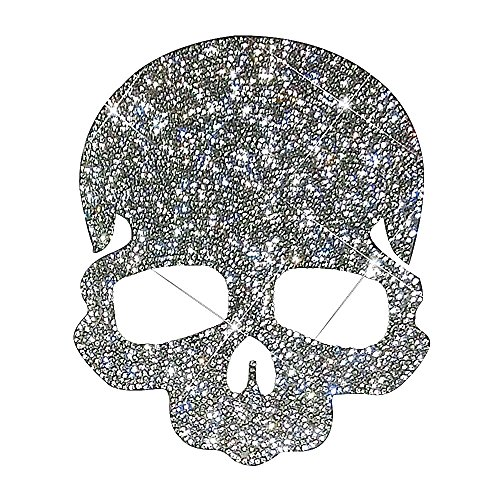 Ling's boutique(TM) Punk Style Skull Crystal Car Stickers,Decorate Cars Bumper Window Laptops Luggage Rhinestone Sticker,White (Skull) ()