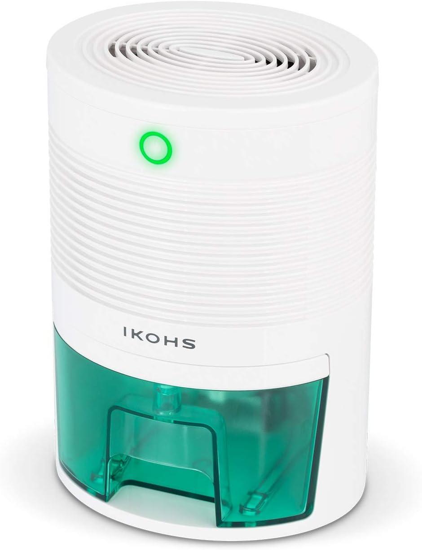 IKOHS DRYPLUS - Deshumidificador Mini Portátil Silencioso, 22 W, 600 Ml, Sistema de Apagado automático, Purifica Aire y Evitar Bacteria y Humedad, Compacto y Ligero, para Habitación, Baño, Cocina
