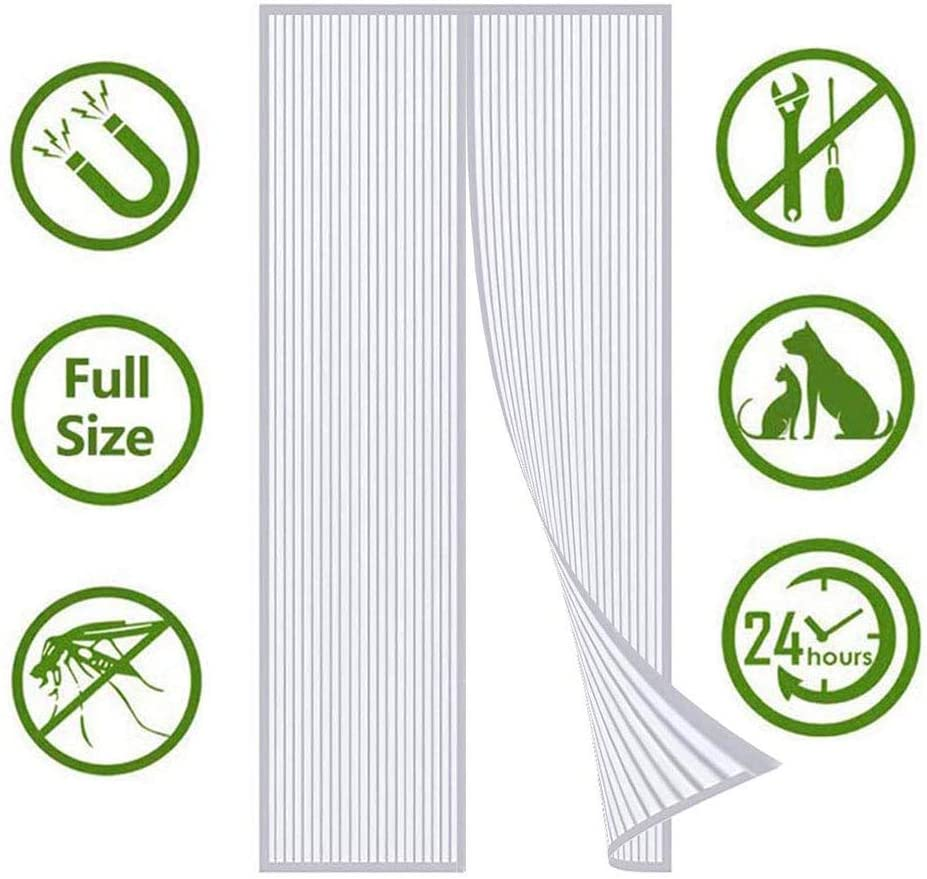 Super Fine Mesh Fly Curtain whit Magnetic Top-to-Bottom Seal Snaps Shuts Automatically Keep Fresh Air In /& Bugs Out- Suitable Suitable For Door And Window Family Customization Magnetic Screen Door