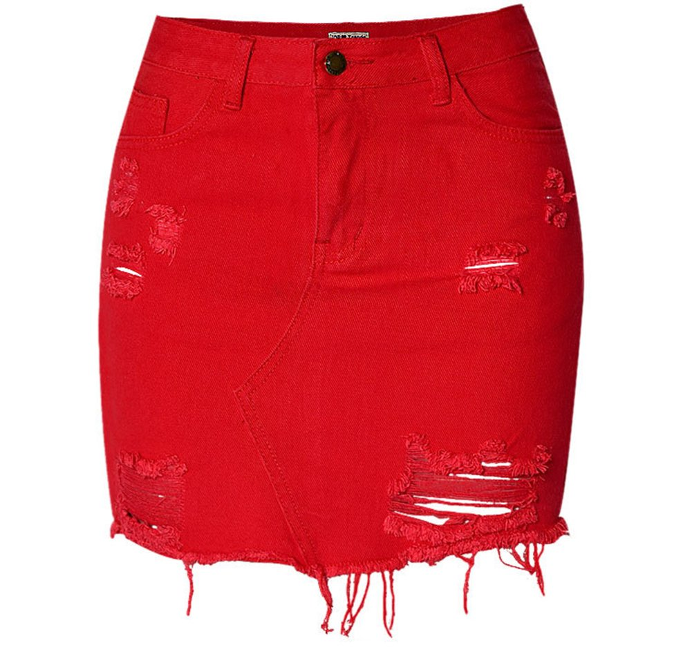 D-Sun Women's Casual High Waist Red Distressed Ripped Bodycon A-Line Denim Short Skirt (Red, L)