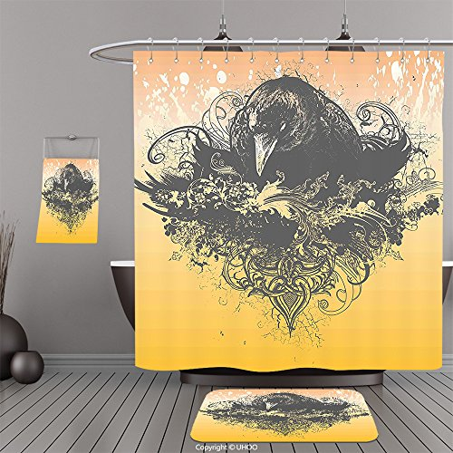 Uhoo Bathroom Suits & Shower Curtains Floor Mats And Bath TowelsBlack Decor Halloween Theme Vector Illustration of a Wicked Crow and Flowers Print Black and MustardFor Bathroom
