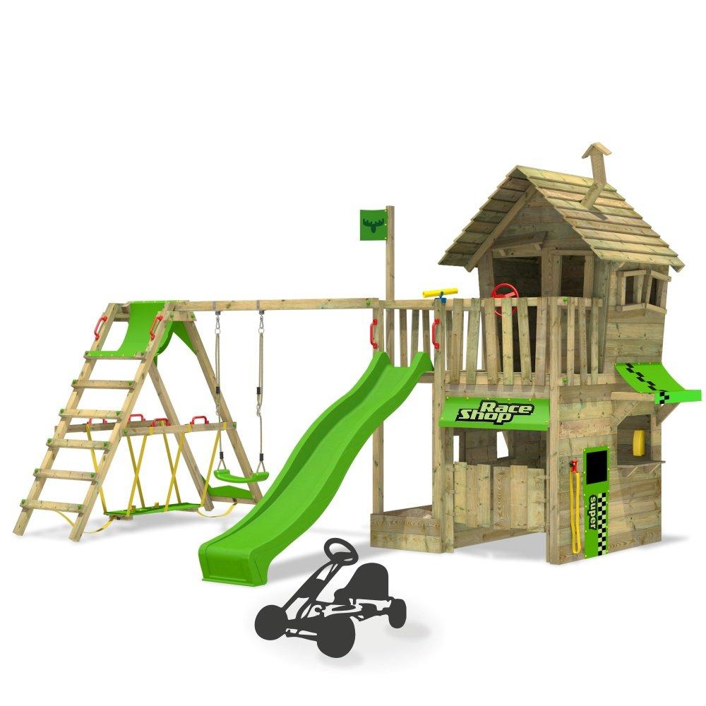 FATMOOSE Kletterturm RebelRacer Spielturm Baumhaus Spielgerät Garten mit Rutsche, Schaukel und Surfanbau