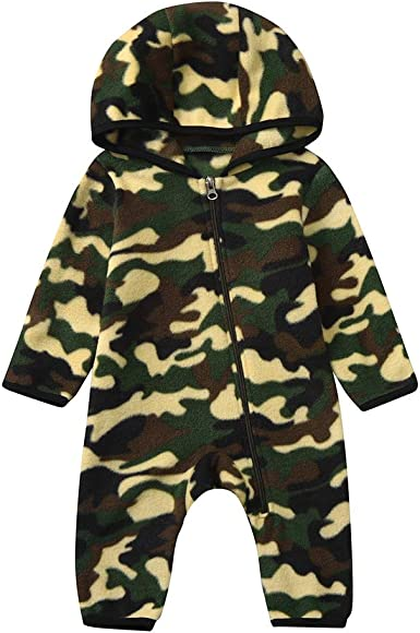 Boys Girls Kids Camouflage Romper Jumpsuit Bodysuit Baby Toddler Outfits Clothes