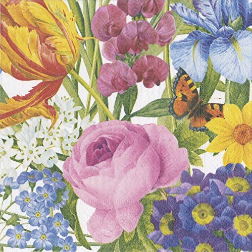 Caspari Paper Napkins Decorative Dinner Napkins for Party Napkins Bridal Shower Easter Napkins Mothers Day - Redoute Floral Napkins Ivory 40 per Pak