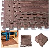 144 Sqft Interlocking Dark Woood Grain Eva Mats Foam Flooring Gym Exercise New !