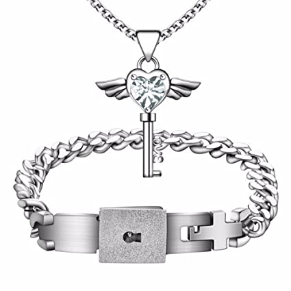 jewelry valentine lovers men couple and titanium key products steel for down women heart lock deals pendant grande bangles bracelets bracelet necklace