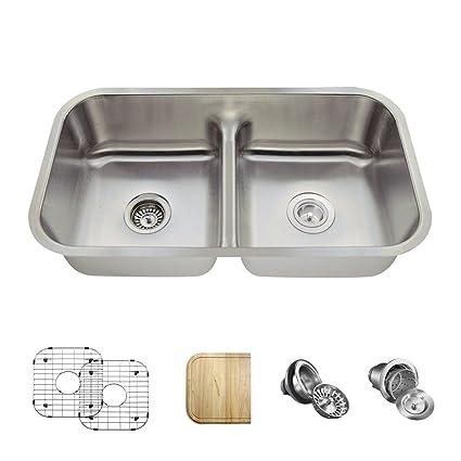 512 16 Gauge Stainless Steel Kitchen Ensemble (Bundle - 6 Items: Sink,  Basket Strainer, Standard Strainer, 2 Sink Grids, and Cutting Board)