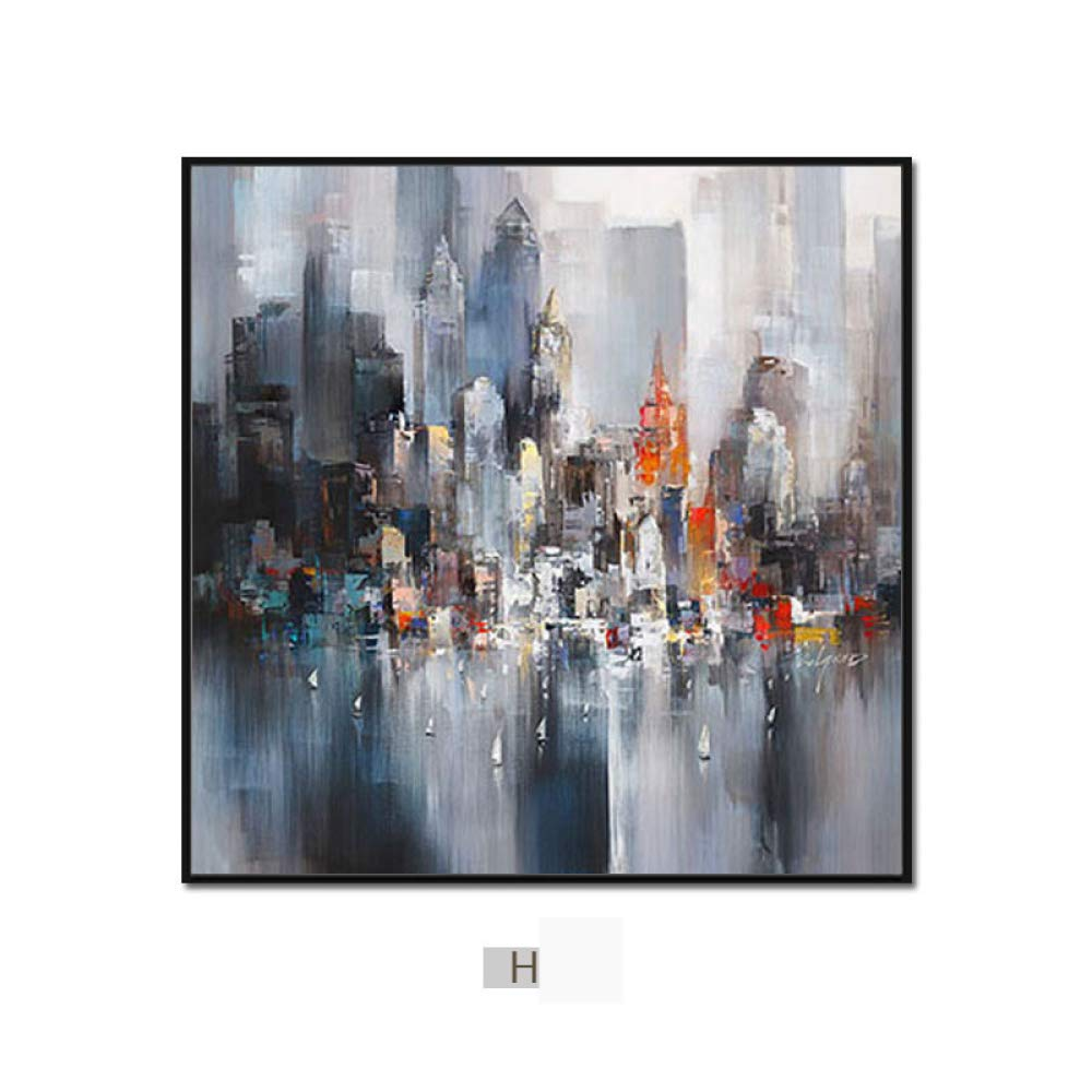 DEED Modern minimalist abstract city painting, triple living room sofa background wall decoration painting, dining room bedroom wall painting,C,5050 by DEED