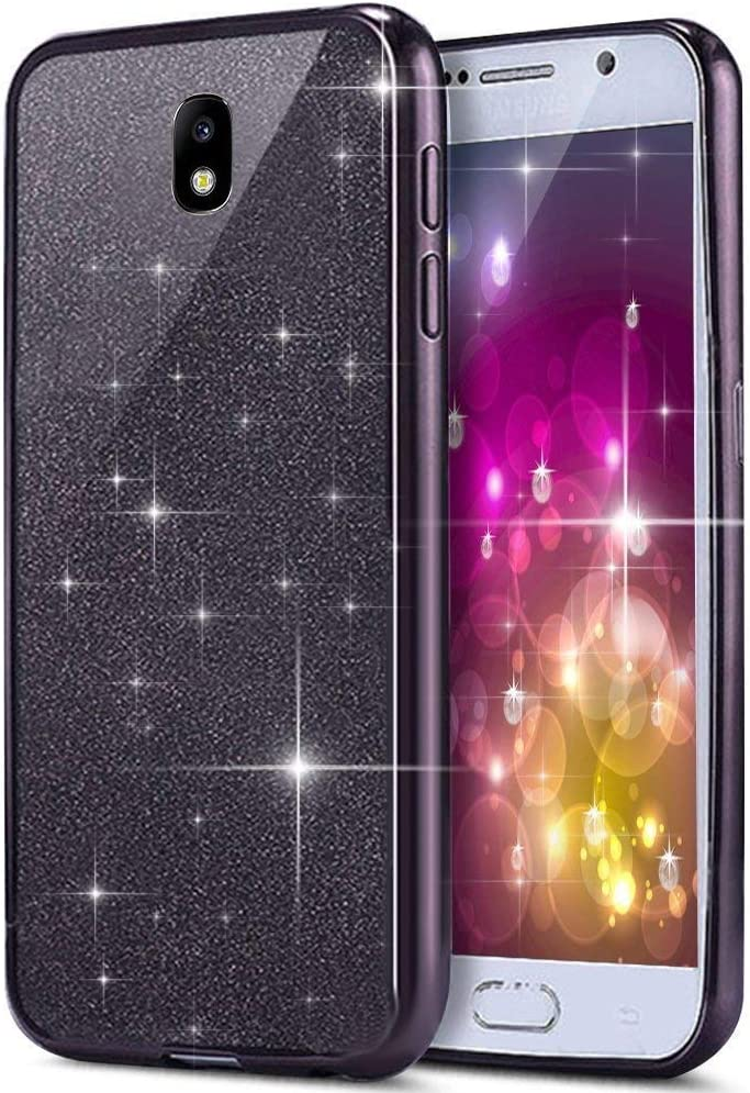 Compatible avec Coque Samsung Galaxy J3 2017 Glitter /Étui Silicone Brillants en Cristal Paillette Ultra Mince Transparente Souple TPU Housse Etui 2 en 1 Antichoc Couverture Bumper Cover Case,Argent