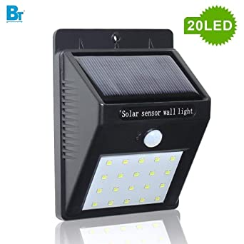 BLACKT ELECTROTECH (BT-756): 20 LED Weatherproof Wireless Wall Solar Light with Motion Sensor, Small(Black)