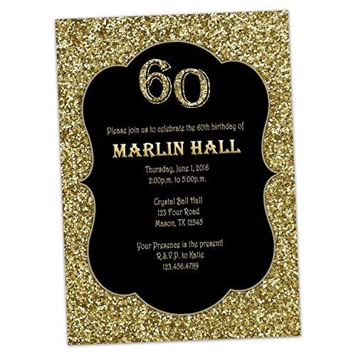 Black Gold Glitter Birthday Invitations Men Women 30th 40th 50th 60th 70th 80th by Party Print Express