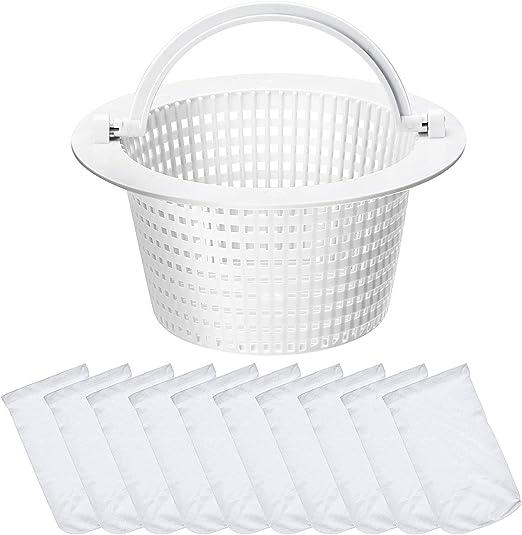 Reemplazo Skimmer Basket Strainer Basket Tamaño estándar pequeño con 10 Calcetines de Skimmer para Piscina (manija Blanca): Amazon.es: Jardín