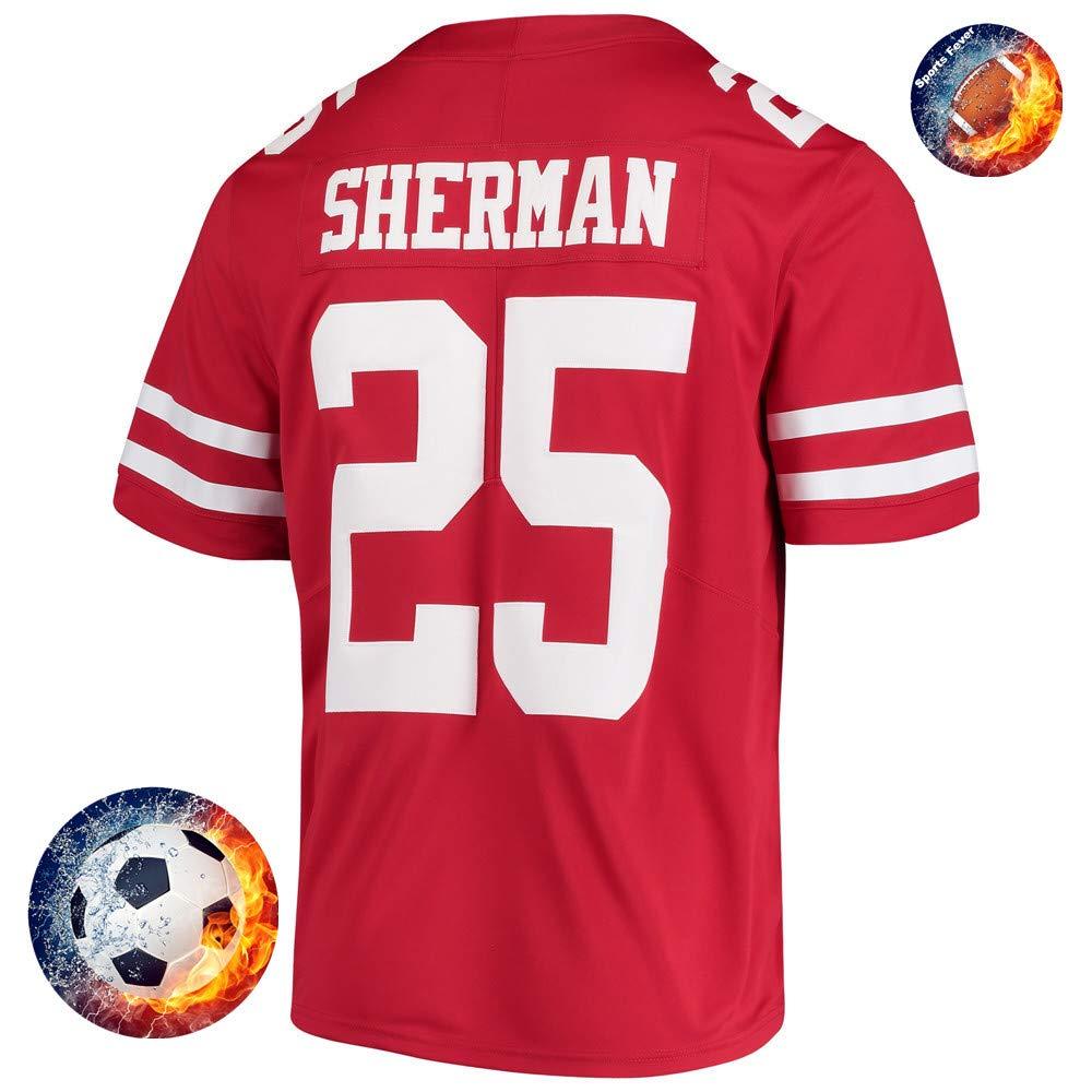 Fabric Fit Kurzarmhemden Herren/Damen Sherman NO.25 Fans Sportkleidung T-Shirt Atmungsaktiv Fußballtrikots Schnell Trocken Jersey Heimtrikot