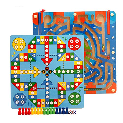 Simingyou Wooden Magnetic Maze Educational Toys Dry Erase Easel Board Puzzles Games for Kids