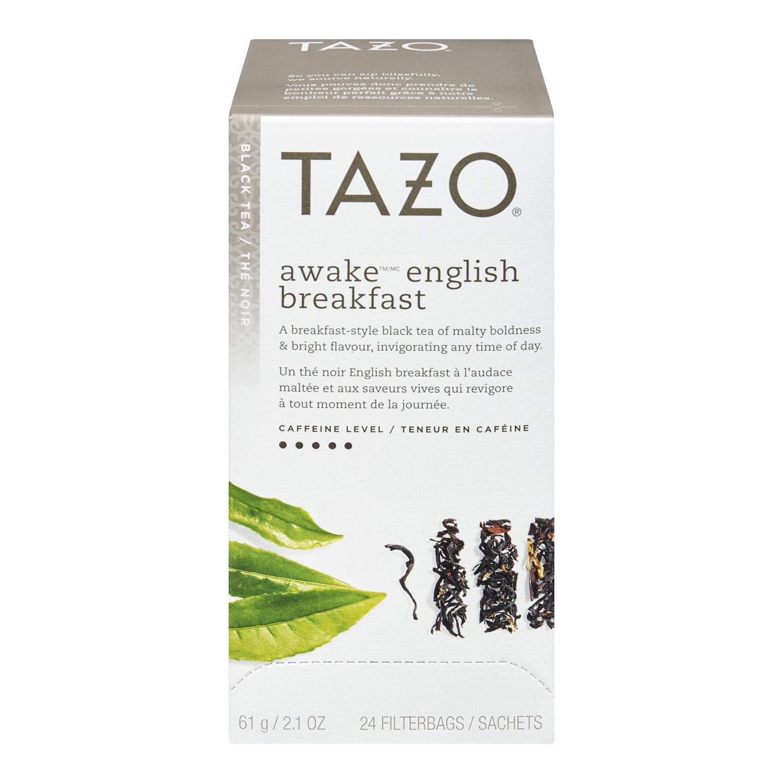 Tazo Awake English Breakfast Enveloped Hot Tea Filterbags Non GMO, 24 count, Pack of 6
