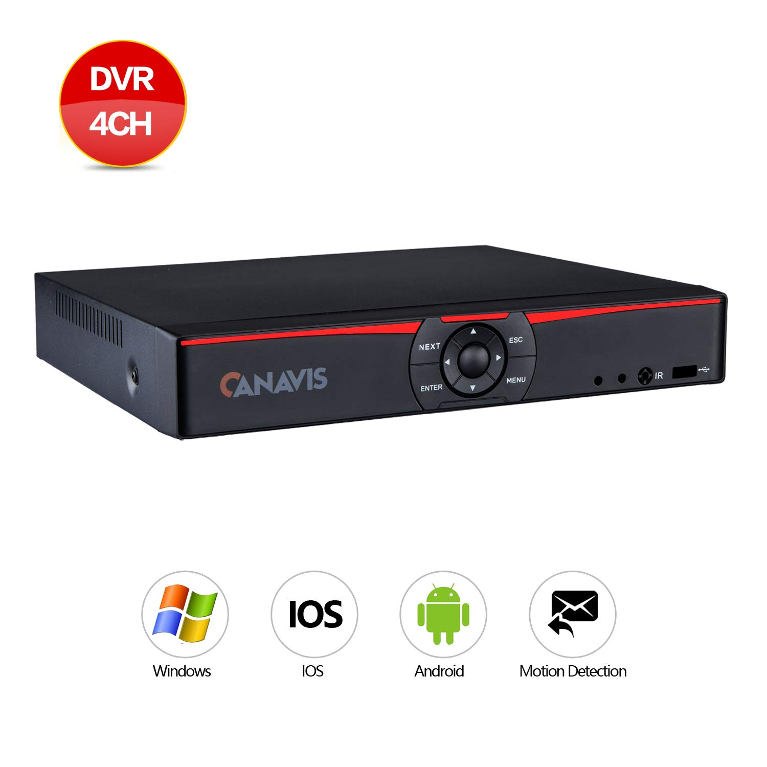 CANAVIS 4CH 1080N Hybrid 5-in-1 AHD DVR (1080P NVR+1080N AHD+960H Analog+TVI+CVI) Standalone DVR CCTV Surveillance Security System Video Recorder No HDD,Cameras Not Included