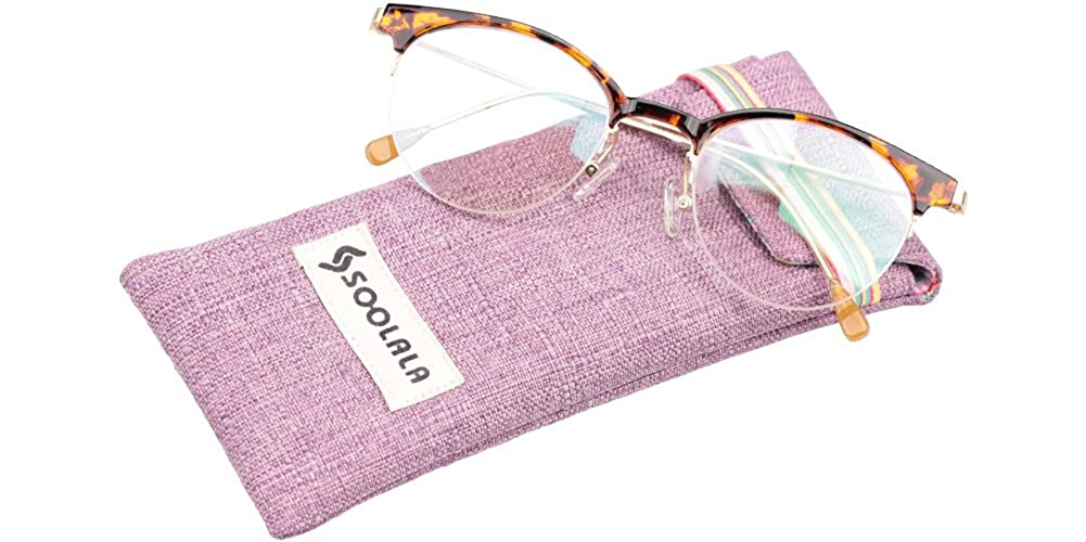 539e59942b07f Amazon.com  SOOLALA Retro Stylish Clubmaster Eyeglasses Semi-rimless Cat  Eye Reading Glasses