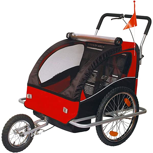 Remolque de bici para niños con kit de footing, color: rojo 502-01 ...