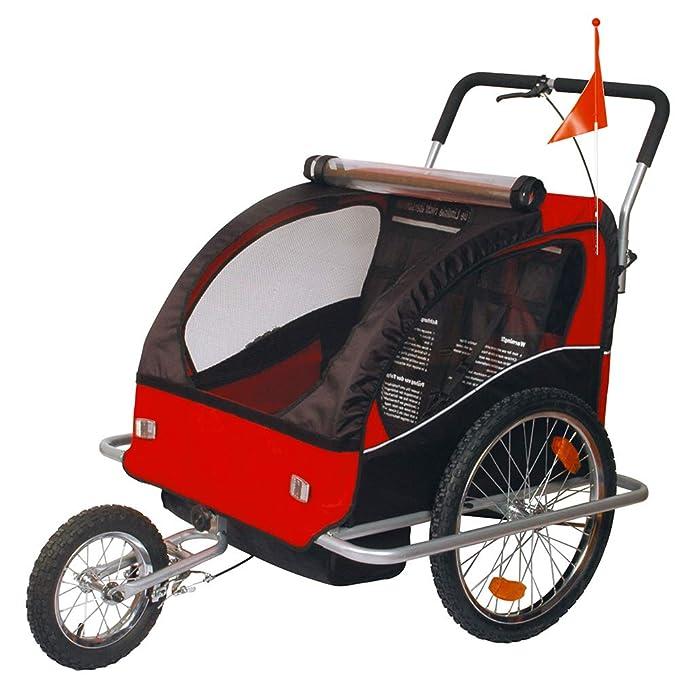 Tiggo - 50201 Carrito Remolque Infantil 2 En 1 Para Bicicleta - Color : Rojo Y Negro: Amazon.es: Deportes y aire libre