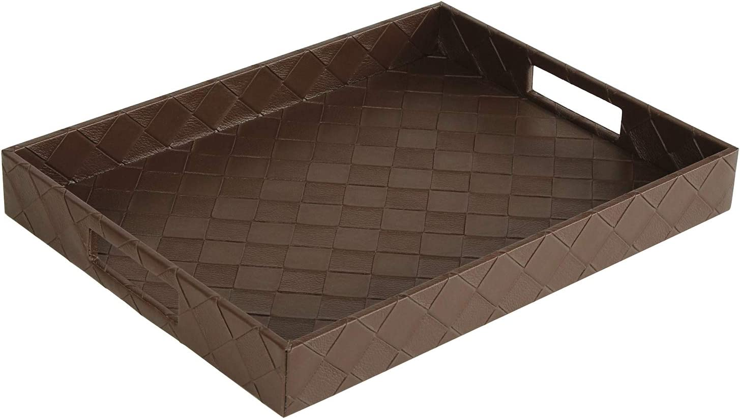 Faux Leather Rectangular Elegant Food Serving Tray with Handles for Ottoman Restaurant Home, Classic Brown, 16.2 x 12.2 x 2 inches