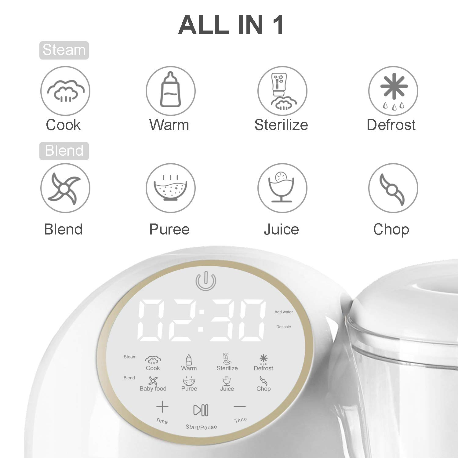 Baby Food Maker for Infants and Toddlers, Bable All in 1 Food Processor Mills Machine with Steam, Blend, Chop, Reheater, Grinder and Auto Cleaning, Touch Control Panel, Auto Shut-Off by BABLE (Image #2)