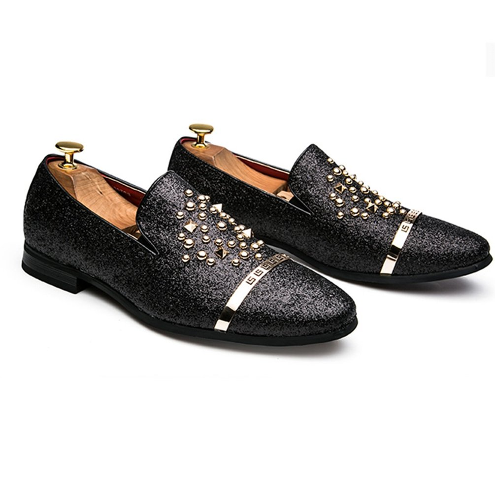 21fff050045f Qianliuk Men Loafers Luxury Diamond Rhinestones Spiked Rivets Shoes Red  Bottom Wedding Party Shoes  Amazon.co.uk  Shoes   Bags