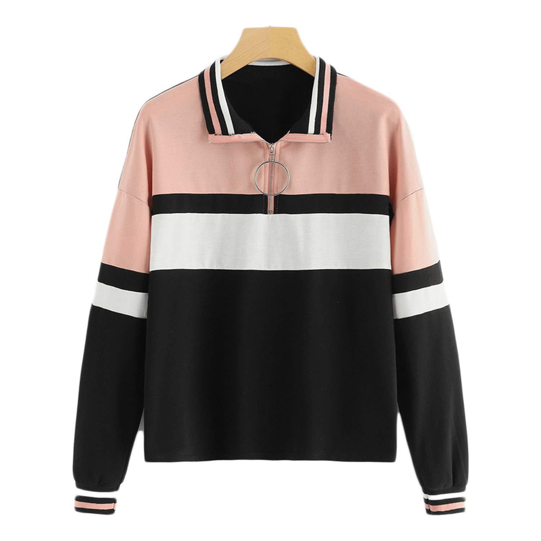 Multicolor Elegant Preppy O Ring Zip Half Placket Cut and Sew Colorblock Sweatshirt Autumn Casual Women Sweatshirts