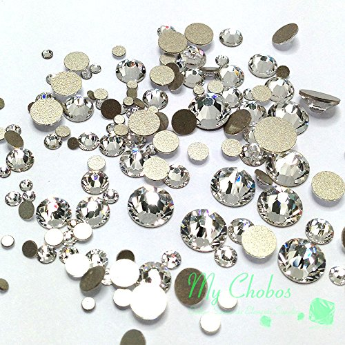 Swarovski clear CRYSTAL (001) 144 pieces 2058/2088 Crystal Flatbacks rhinestones nail art mixed with Sizes ss5, ss7, ss9, ss12, ss16, ss20, (Wholesale Beads Usa)