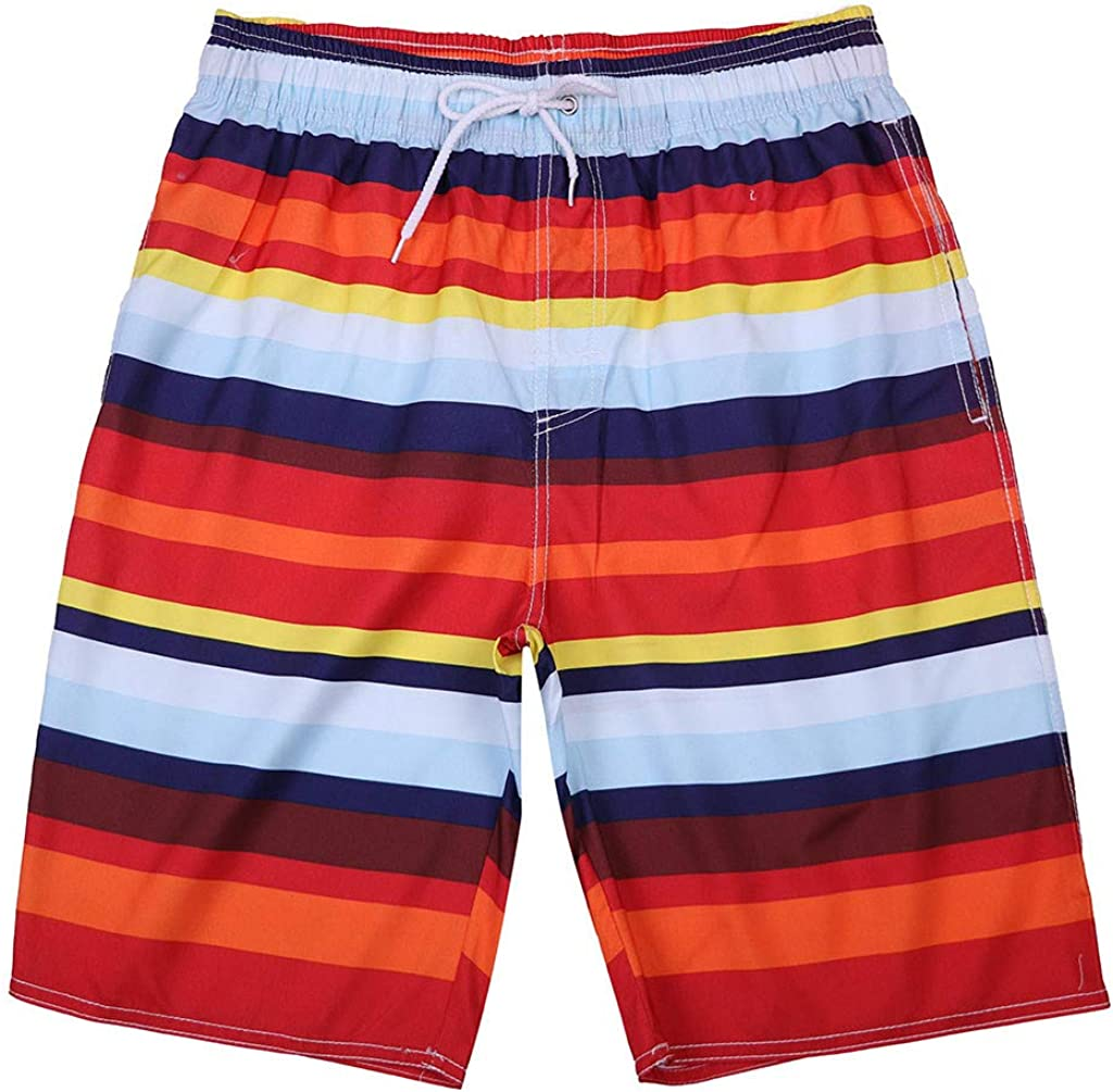 JJLIKER Mens Quick Dry Swim Trunks Colorful Stripe Beach Shorts Beach Drawstring Elastic Waist Watershort and Pockets