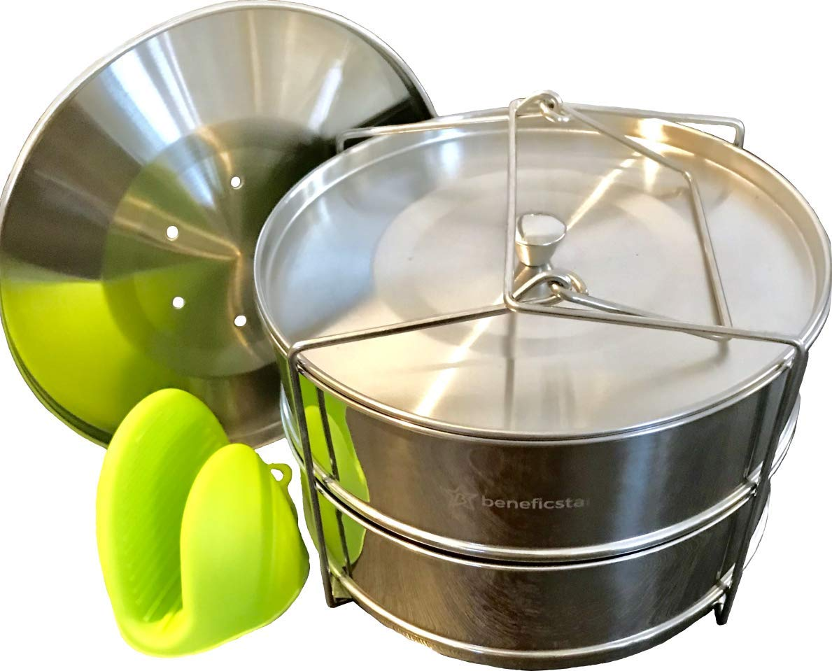 Beneficstar Stackable Stainless Steel Steamer Insert Pans for Instant Pot Pressure Cookers with Safe Handle Sling, Silicone Mini Mitt and Interchangeable 2 lids - Accessories Fits 6, 8 qt