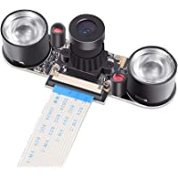 Dorhea Raspberry Pi 3 b+ Camera Module Night Vision Camera Adjustable-Focus Module 5MP OV5647 Webcam Video 1080p with 2 Infrared IR LED Light for Raspberry pi 3 Model B+ 2 B