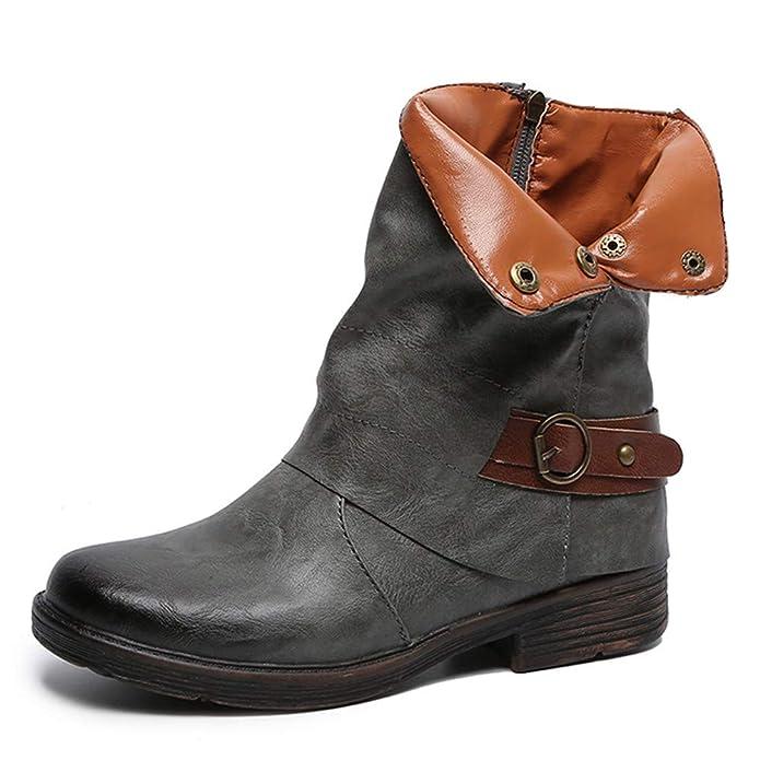 Zapatos De Mujer,RETUROM Botas De Mujer Botines Mujer Invierno OtoñO Negro Plano Pierna Alta Ante Casual Largo Alto Botas De Color SóLido Plana Martin ...
