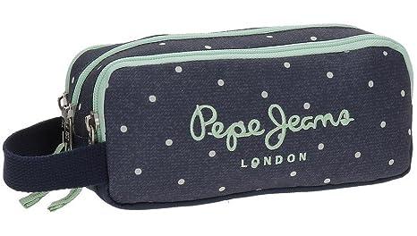 Pepe Jeans Denim Dots Neceser de Viaje, 22 cm, 1.98 litros, Azul