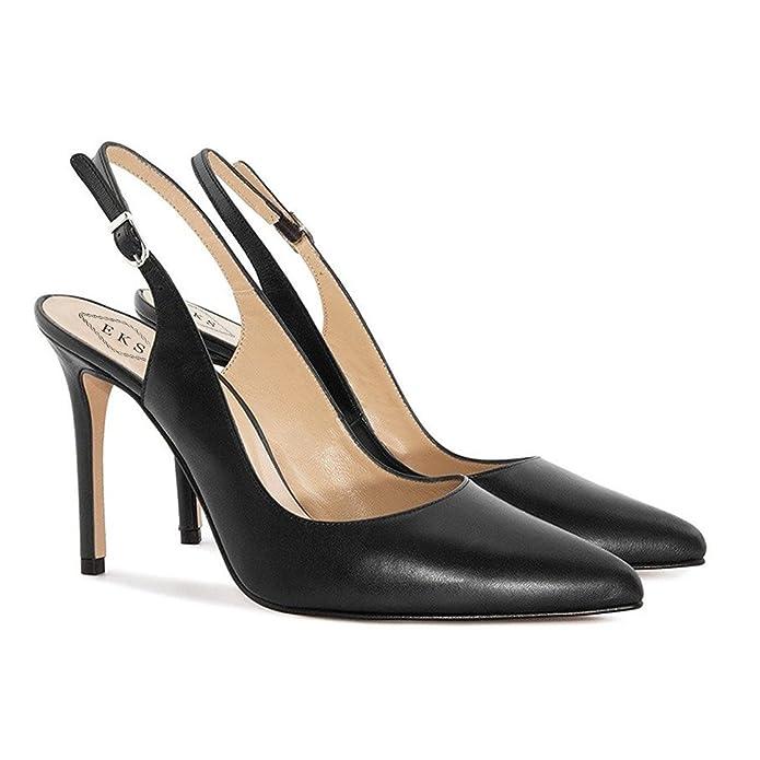 EKS Damen Elegante Spitzschuh Dünne Fersen Slingback Matte Dress Court Schuhe Wein 41EU dFLhy6tHYk