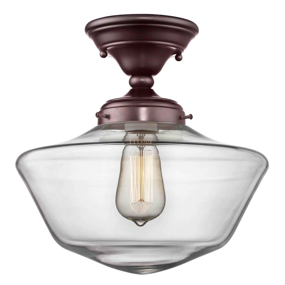 12-Inch Clear Glass Schoolhouse Ceiling Light in Bronze Finish