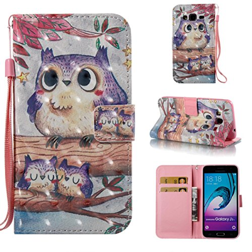 Fan Flip Bird - Galaxy J3 2016/J3/J310 Case,Durable Kickstand Wallet Case with Inner Silicone Bumper Cover Full Protective Flip Folio Shell Cover with Credit Card Holder for Samsung Galaxy J3 2016/J3/J310-Bird