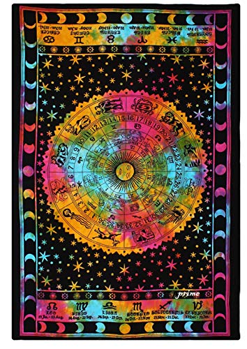 (Prime Handmade Wall Hanging Hippie Bohemian Mandala Bedding Tapestry Tie Dye Multi Color Bed Sheet Multi Color Beach Blanket Bed Cover-76