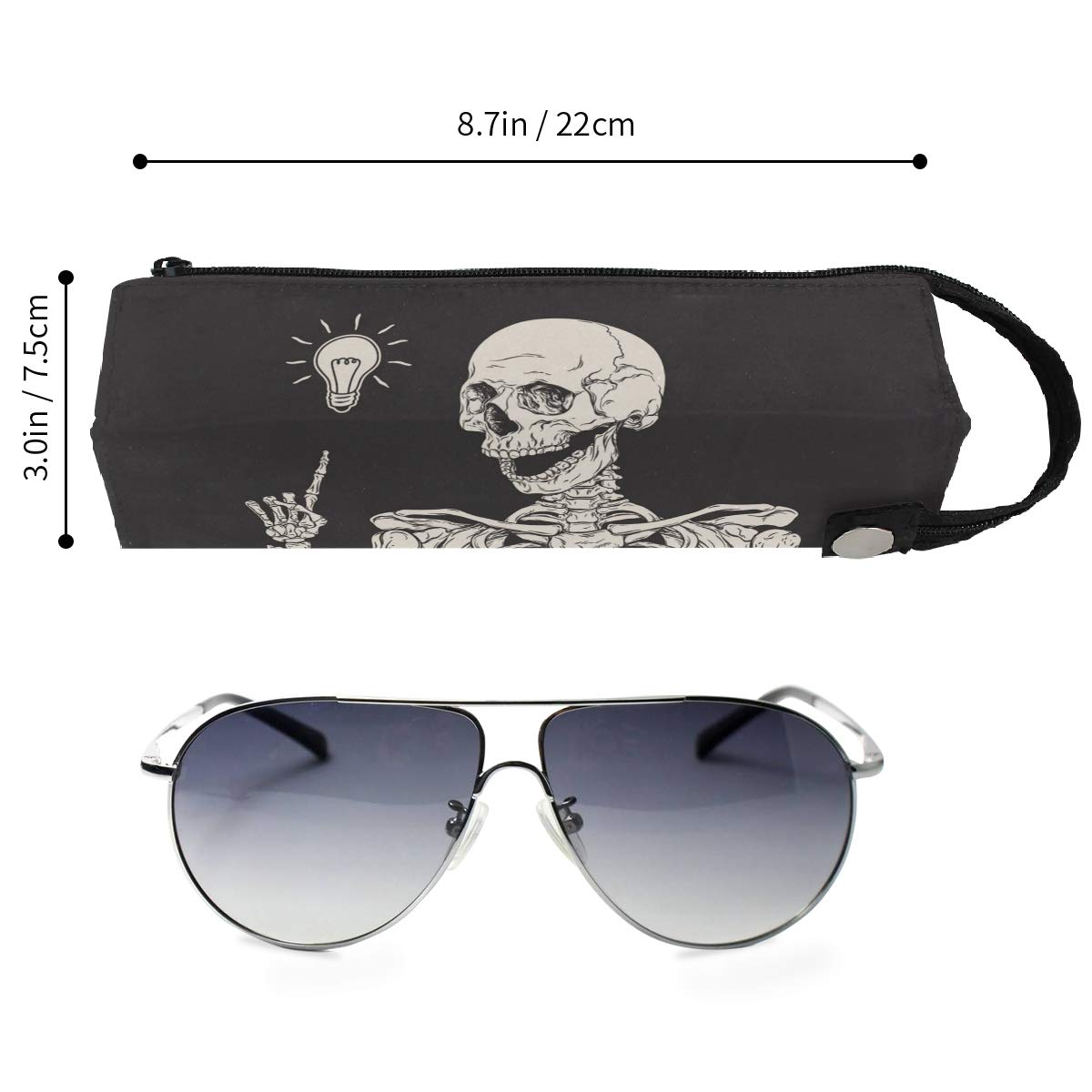 My Little Nest Eyeglass Sunglasses Holder Pouch Bag Skeleton Has An Idea Multi Function Zipper Pen Case Pencil Bag Organizer