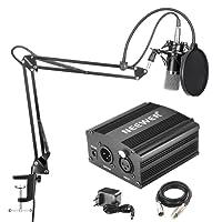 Neewer NW-700 Microphone à Condenseur Professionnel et NW-35 Suspension Boom Support Bras à Ciseaux avec XLR Câble Intégré et Clamp de Montage et 48V Alimentation Fantôme avec le Kit d'Adaptateur