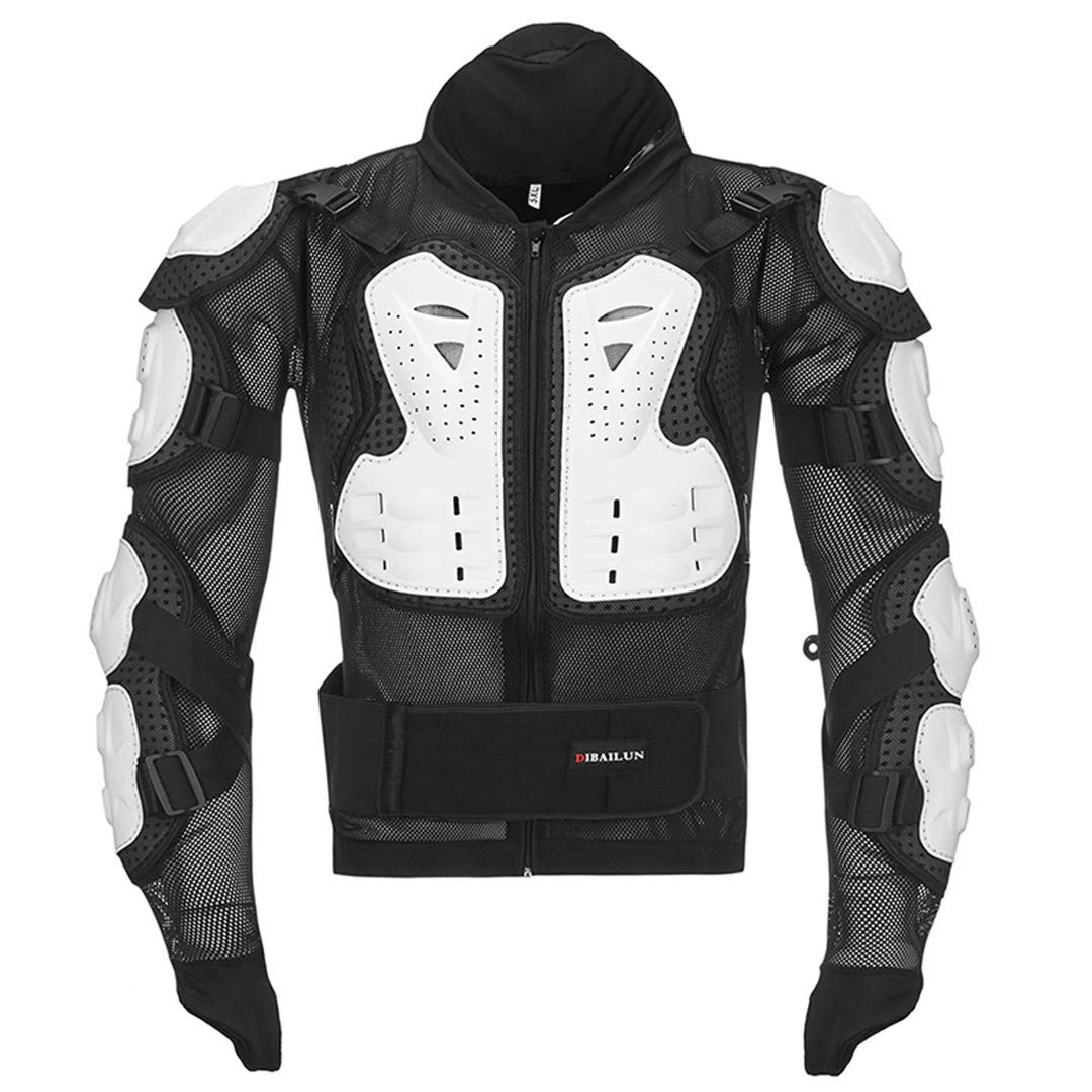 Motocross MX Armor Motorcycle Body Jacket Protector Moto Off Road Riding Racing Neck Guard Protective Gear White L
