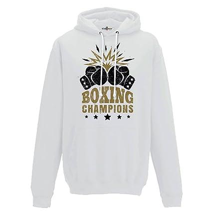 KiarenzaFD Sudadera Capucha Boxeo Boxeo Boxing Champions Ring Combate Saco 3 Hombre, Blanco, XX