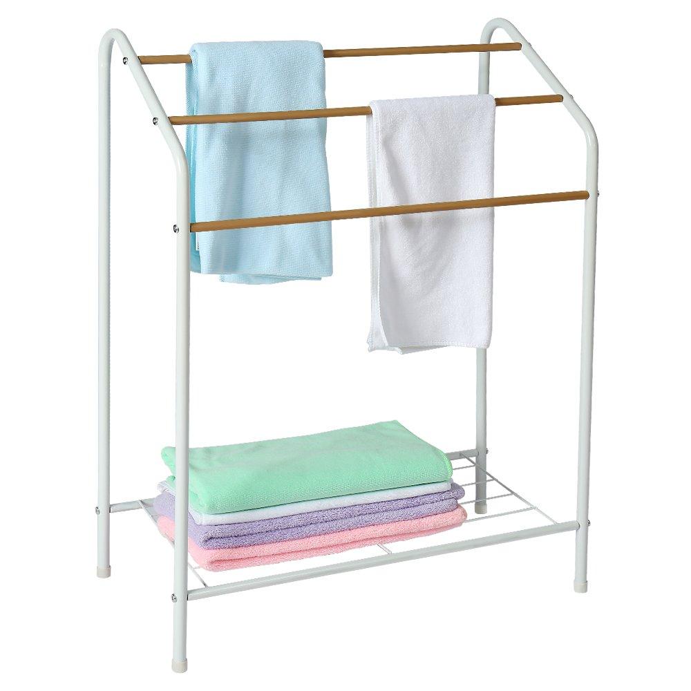 HOME BI Towel Bathroom Rack, 3 Tier Metal Freestanding Towel Drying Shelf, Rust-Resistant, 23'' L11 W32 H(White 1)