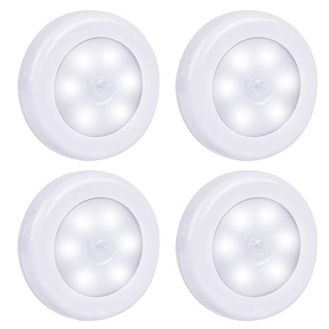 MHtech Kit de 4 Luces LED con Sensor de Movimiento Lámpara Nocturna 6 LEDs a Pilas
